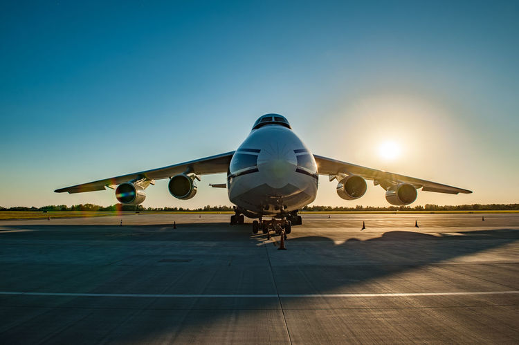 Big Ruslan Air Vehicle Airplane Airport Transportation Airport Runway Mode Of Transportation Sky Travel Nature Sunlight Clear Sky Blue Runway Aerospace Industry Commercial Airplane No People Journey Sunset Outdoors Public Transportation Plane