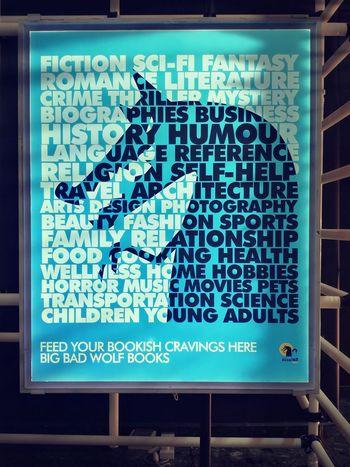 Big Bad Wolf ad post. Sign Signage Advertising Ads BigBadWolf Blue Booksale Books Map Data Technology Text No People Communication