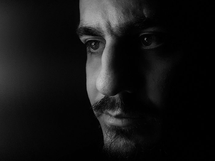 Black Background Dark Close-up Young Adult Human Face One Person People Mobile Photography Darkness And Light Samsung Galaxy S7 Self Portrait Black & White