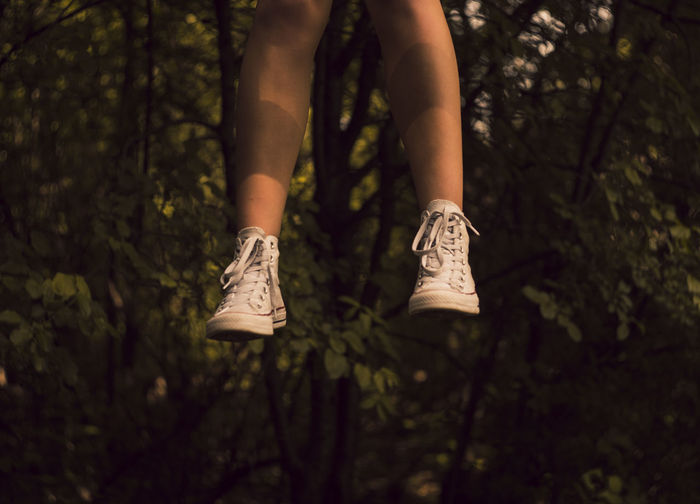 Adult Body Part Day Forest Growth Human Body Part Human Foot Human Leg Human Limb Land Leisure Activity Lifestyles Low Section Nature One Person Outdoors Plant Real People Shoe Tree Women