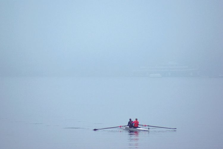 Quest Color Palette Rowing Boating Canoe Canoeing Sports Sport Sport In The City Lake Water Mist Fog Atmospheric Mood It's Cold Outside Minimalism Minimal Focus Atmospheric Canoe Paddling People People Watching Adventure Two Is Better Than One Misty Let's Go. Together.