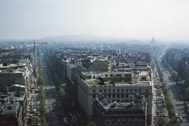 High angle view of buildings and street in city