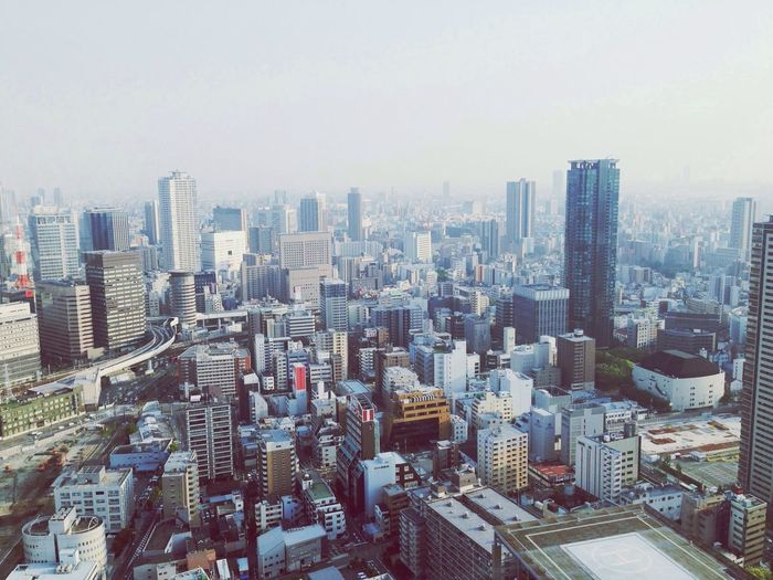 Osaka from above. Japan Traveling OSAKA City ASIA Buildings Big City From Above