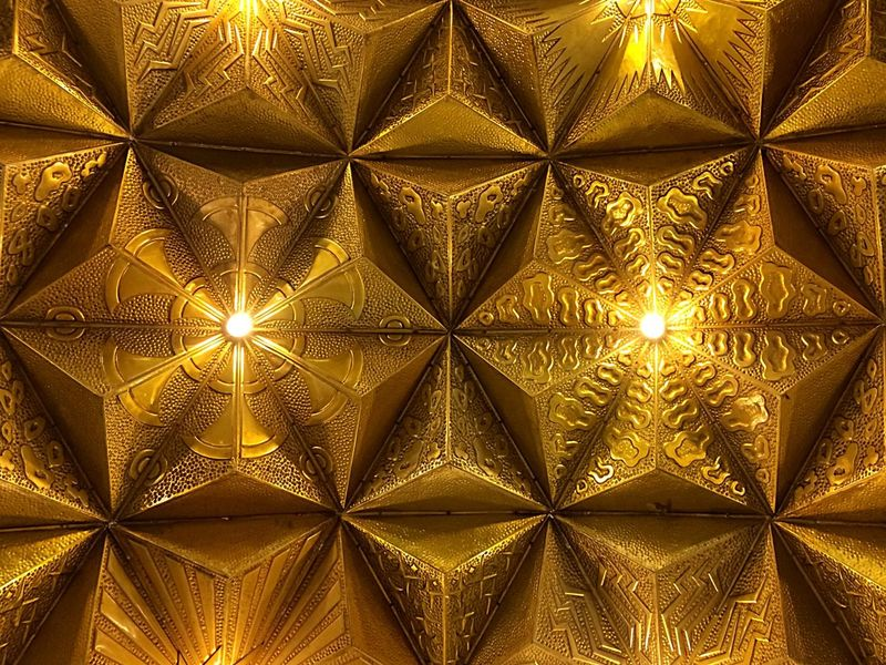 Golden Ceiling Lights Metro Station December 2015
