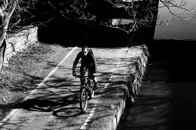The Cyclist. Brick Wall Shadows & Lights Bicycle Canal Path Close-up Cycling Day Footpath Full Length High Angle View Metal Mode Of Transportation Nature No People Outdoors Plant Stone Wall Sunglasses Transportation Tree Water Wheel Wood - Material
