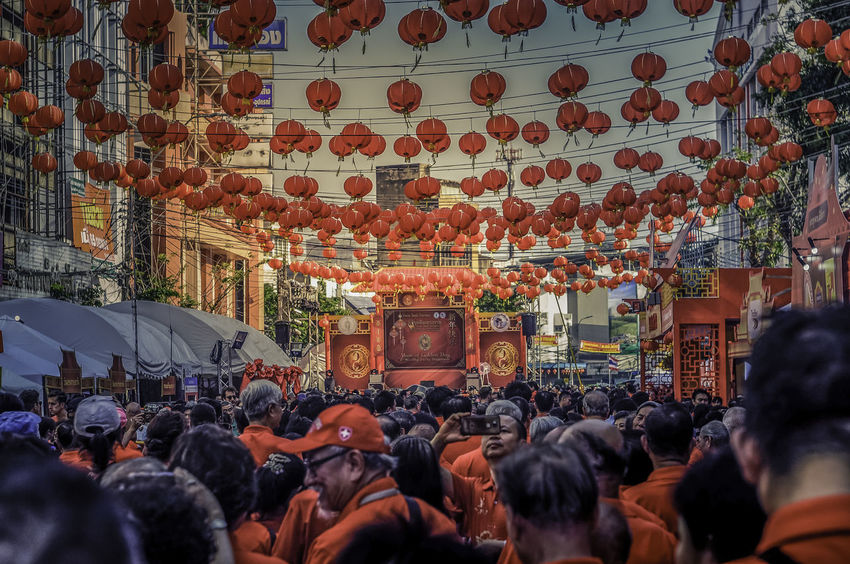 Chinese New Year 2018 in Thailand ASIA Bangkok Thailand Architecture Built Structure Cinese New Year Crowd Day Indoors  Large Group Of People Lifestyles Men People Place Of Worship Real People Religion Spirituality Travel Destinations Women