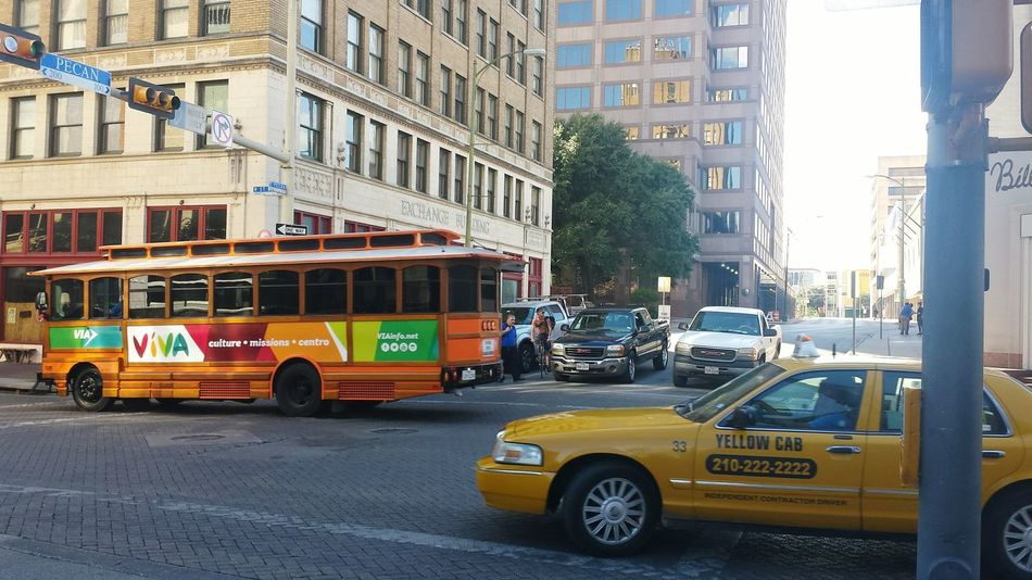 City City Street Travel Destinations Building Exterior Architecture Yellow Taxi Transportation Vertical Outdoors Day No People City Bus Colorful City Traffic Lights Trafficlights San Antonio, Texas