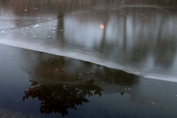 Beauty In Nature Close-up Day Ice Ice On The Water Lake Lake View Nature No People Outdoors Rainy Season Reflection Reflection Of Trees Sky Sow Walking Around Walking Around The City  Water Winter