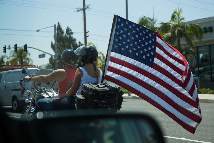 American American Flag Bikers Driving Flag Motorcyclists Orange County, Ca Patriotism Republican Right Wing