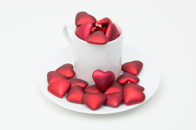 Love overflow Love Red Romance Valentine Valentine's Day  Close-up Day Drink Food And Drink Freshness Heart Indoors  No People Red Studio Shot White Background