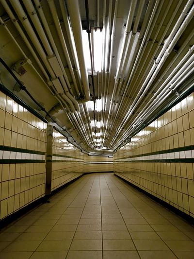 Manhattan New York City New York The Way Forward Direction Indoors  Architecture Ceiling Diminishing Perspective Flooring No People Built Structure vanishing point Footpath Pattern Tile Subway Empty Arcade In A Row Corridor Tiled Floor Long