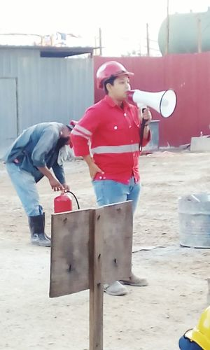 Red Adults Only Full Length Safety First! Safety Officer Construction Site Standing