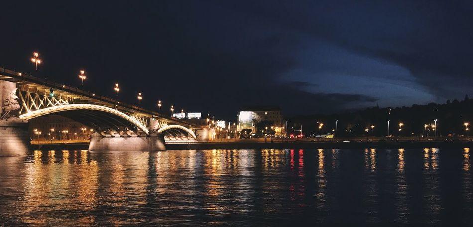 Margaret Island Margaret Bridge Bridge Danube River Night Connection City Outdoors Travel Destinations Reflection