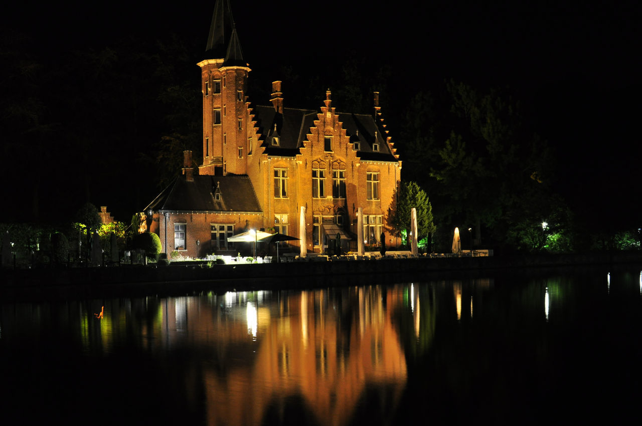 night, religion, spirituality, place of worship, illuminated, built structure, architecture, reflection, travel destinations, water, travel, tourism, building exterior, history, no people, outdoors, sky, tree, nature