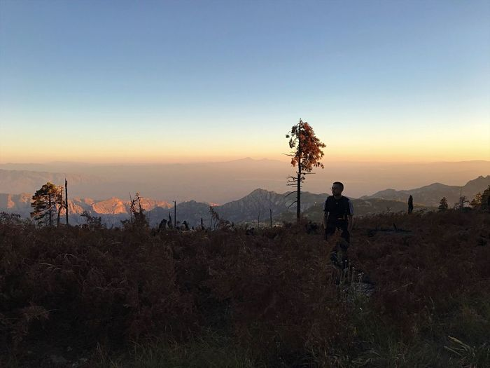 Lost In The Landscape Sunset Mountain Standing Silhouette Nature Beauty In Nature Landscape Full Length Sky Tranquil Scene Scenics Mountain Range Men Clear Sky Outdoors One Person Adventure Real People Adult One Man Only Hiking Nature Arizona Tucson Arizona  Go Higher