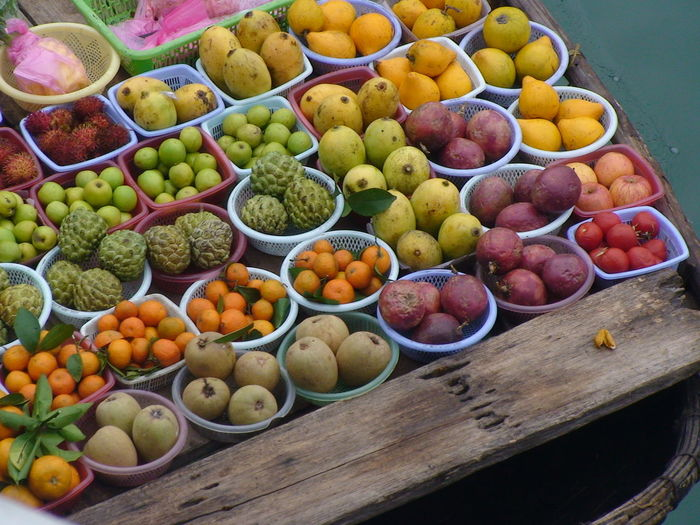 High Angle View Of Various Fruits On Floating Market