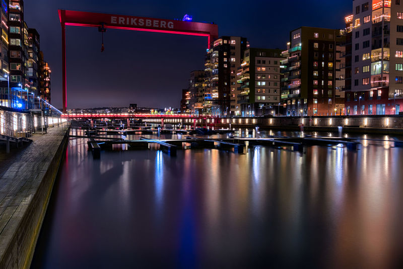 Eriksbergskranen Goteborg Göteborg, Sweden Architecture Building Exterior City Cityscape Eriksberg Gothenburg Illuminated Long Exposure Night No People Outdoors Reflection River Sky Travel Destinations Water Waterfront