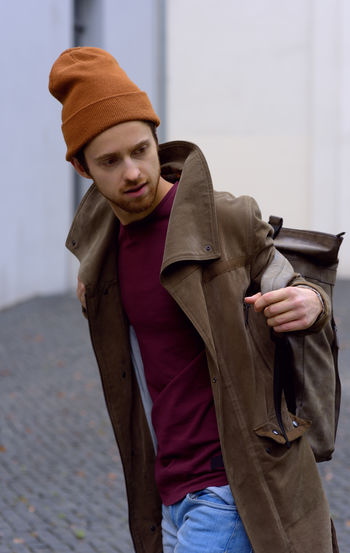 young men 20s Authentic Authentic Moments Bag Coat Hat Lifestyle Men Mensfashion Menstyle Model Posing Streetphotography Trendy Young Adult Young Men Fresh On Market 2017