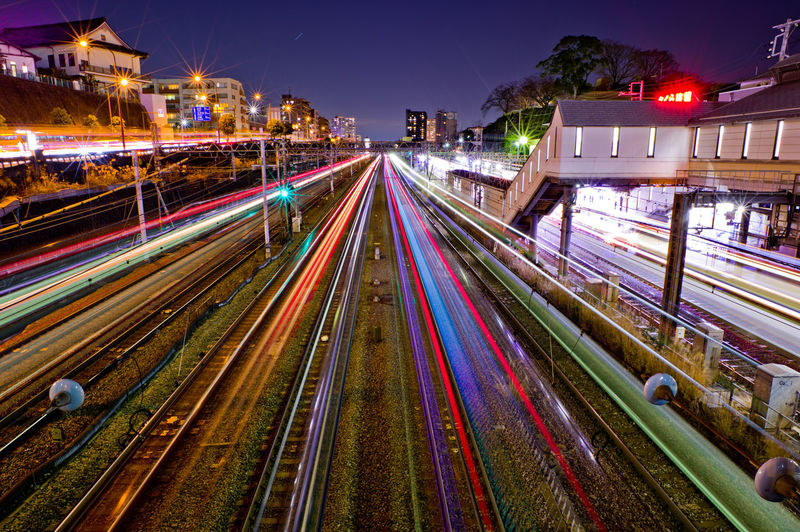Illuminated City Night Architecture Light Trail Transportation Motion Long Exposure Building Exterior Street Speed Built Structure Street Light City Life Traffic High Angle View Cityscape Mode Of Transportation Sky No People Outdoors Track Light Train Japan
