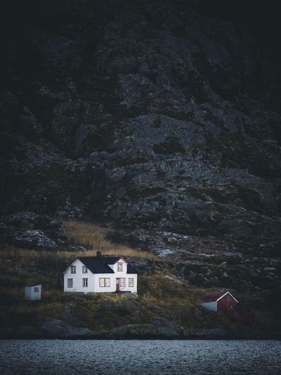 Fjord Living   Norway Tromsø Fjord Fjordsofnorway Nature House Houses Nature_collection Nature Photography Architecture Built Structure Mountain Building Exterior Beauty In Nature No People Nature Water Scenics Country House Tranquility Tranquil Scene Tree Outdoors Boathouse EyeEm Best Shots