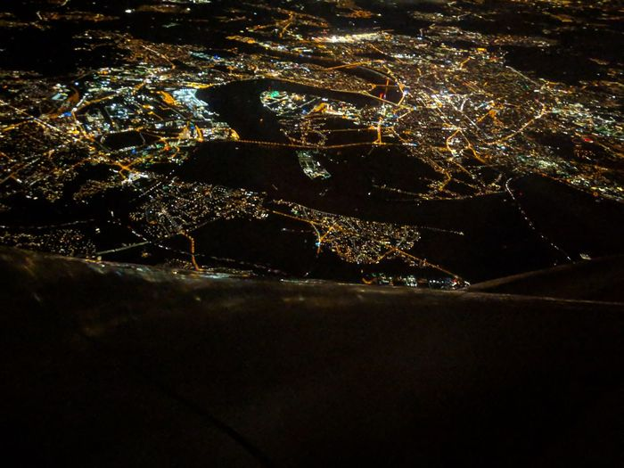 Airplane Wing Astronomy Water Illuminated Backgrounds City Pixelated Star - Space Close-up