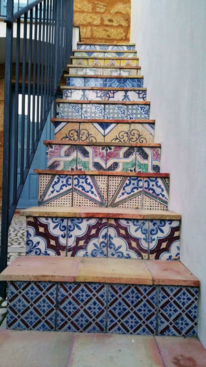 Low angle view of multi colored staircase in building
