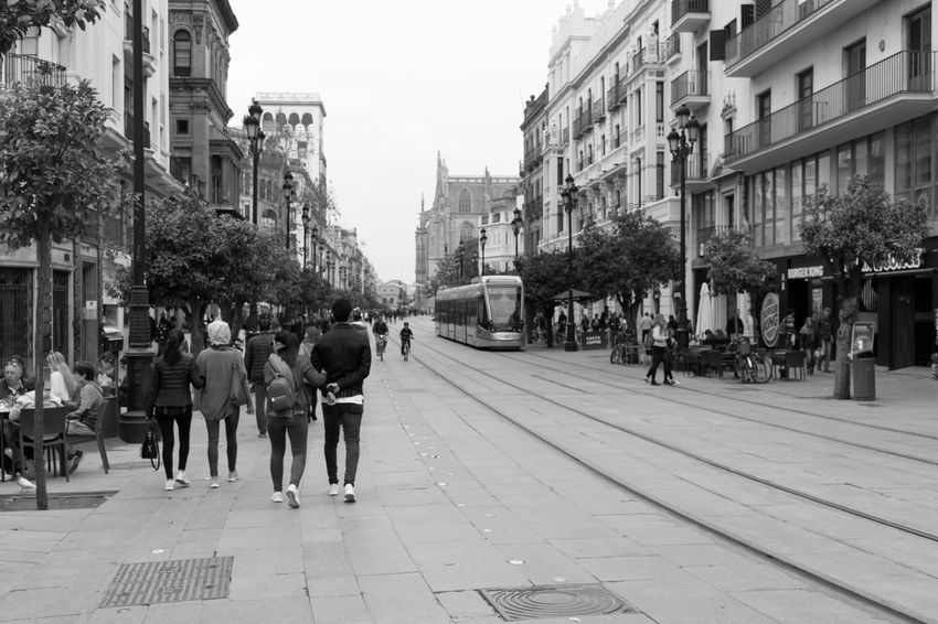 Citylife Cityscape People Black & White Black And White Blackandwhite Seville,spain Blackandwhite Photography Bnw Eye4photography  People Watching EyeEm EyeEm Best Shots EyeEm Bnw EyeEmBestPics Monochrome Tram People Photography EyeEm Gallery Taking Photos at Seville SPAIN