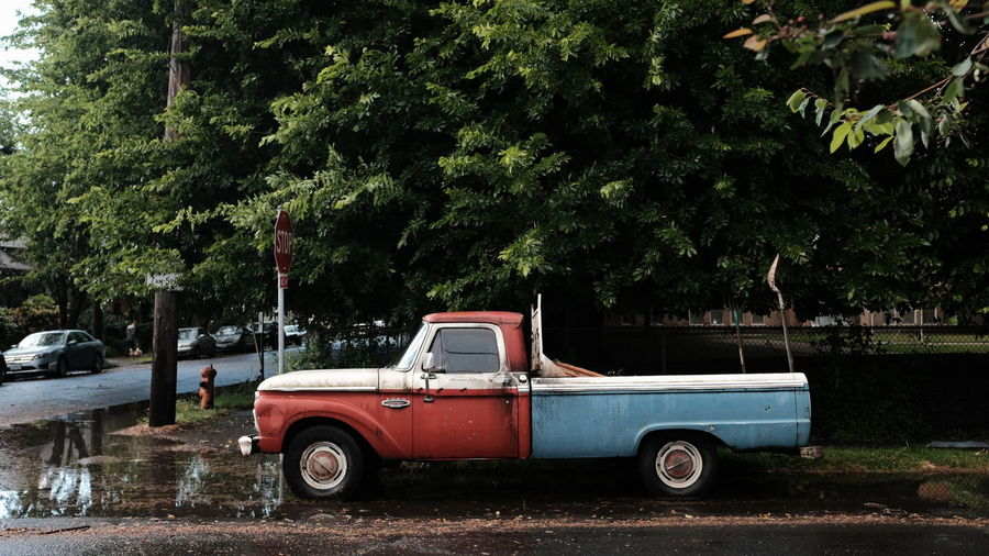 Pick-up truck parked by trees