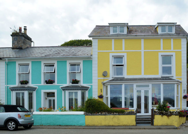 Holiday Destination Old Buildings Sea Front Seaside Blue Blue House Yellow Yellow House  Colourful Houses Blue And Yellow Borth Y Gest N.wales Borth Y Gest