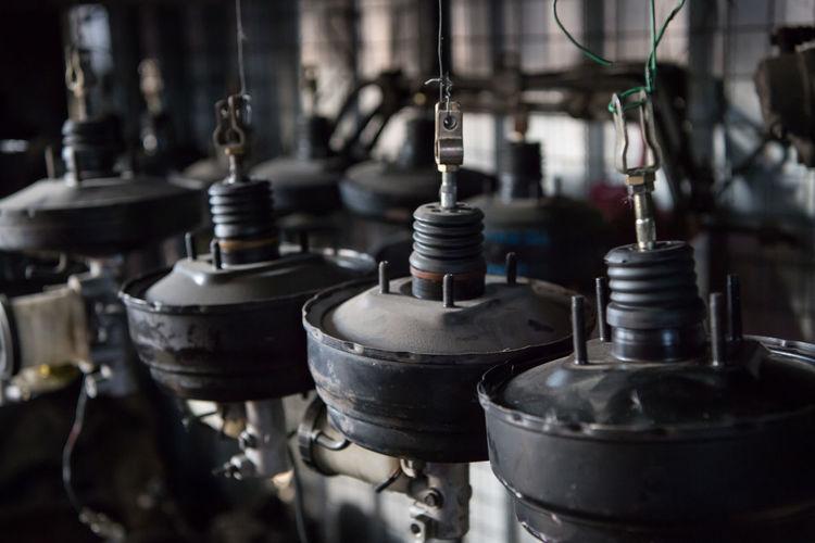 Close-Up Of Machine Parts At Factory