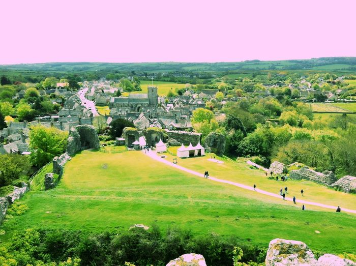 Amazing Architecture view of Corfe from castle ruins