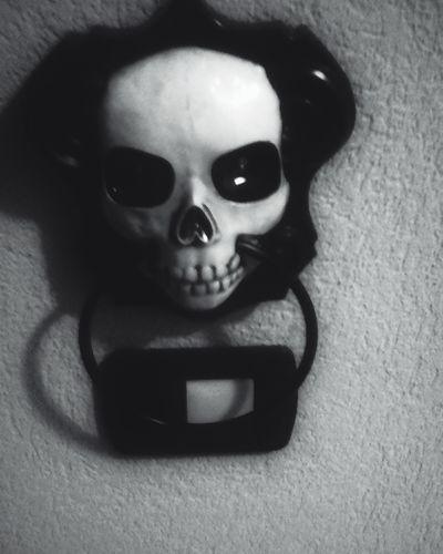 Enter on your own risk..... Spooky Blackandwhite Monochrome Dark Edit Doorbell OpenEdit Monday Skull
