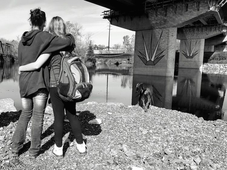 A moment in time to enjoy nature. Mother & Daughter Riverscape River Trees Black & White Dog Pet Lifestyles Water Real People Outdoors People Togetherness Love Peaceful Quiet Places Enjoying Nature Nature Walk Sights Lehigh River Moment In Time Beauty In Nature Architecture Man Made Structure Sky And Trees The Secret Spaces Art Is Everywhere The Great Outdoors - 2017 EyeEm Awards Mix Yourself A Good Time