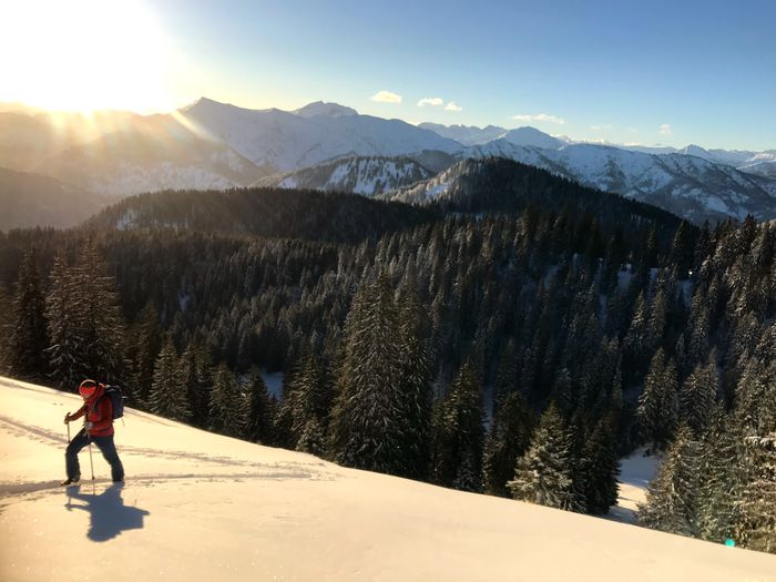 Early bird ski tour up to Hirschberg :) Sunrise Winter Snow Cold Temperature Mountain Full Length One Person Nature Beauty In Nature Sunlight Mountain Range Outdoors Landscape EyeEmNewHere