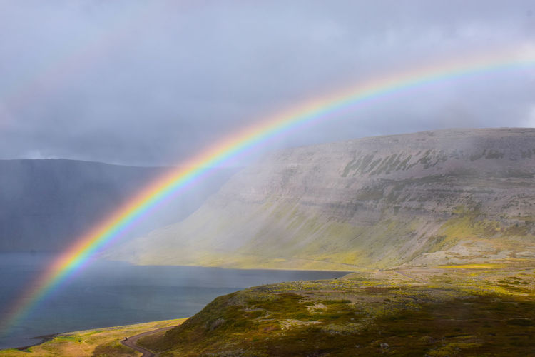 Rainbow, Iceland Beauty In Nature Cloud - Sky Curve Day Freshwater Iceland Lake Mountain Multi Colored Natural Phenomenon No People Outdoors Performance Group Rainbow Refraction Sky Spectrum Tree Waking Up