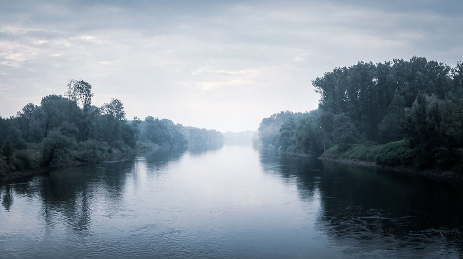 A moody view of the Donau in a part of Bavaria, Germany. Moody Sky River View Fog Foggy Landscape Foggy Morning Outdoors Reflection River Tranquil Scene Tranquility Water Waterfront