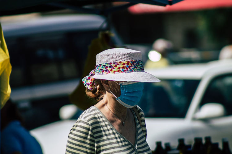 Rear view of woman in hat