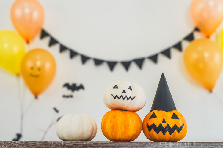 Close-up of pumpkins on pumpkin during halloween