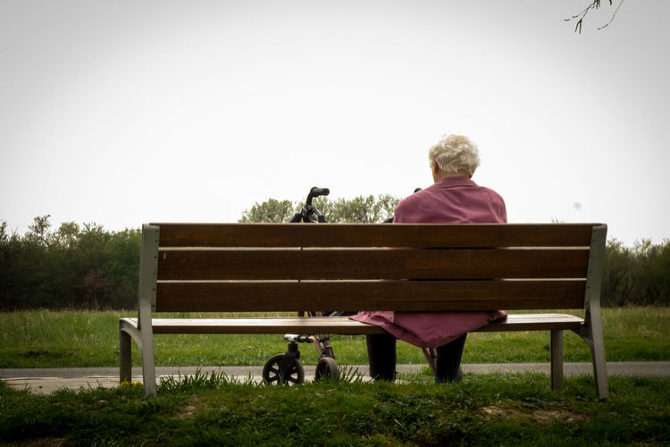 Nature Old Old Person One Person Outdoors Rear View Rest Resting Senior Adult Sitting Sucsess