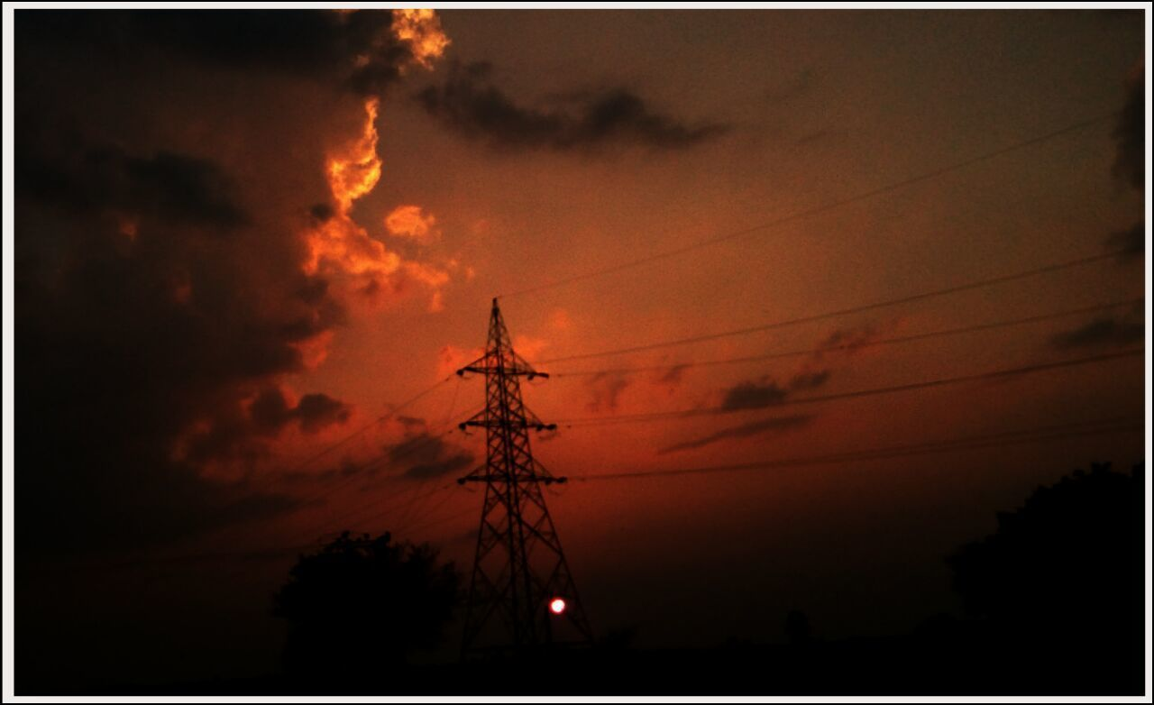 sunset, silhouette, sky, no people, electricity pylon, low angle view, cable, nature, outdoors, scenics, electricity, beauty in nature, tree