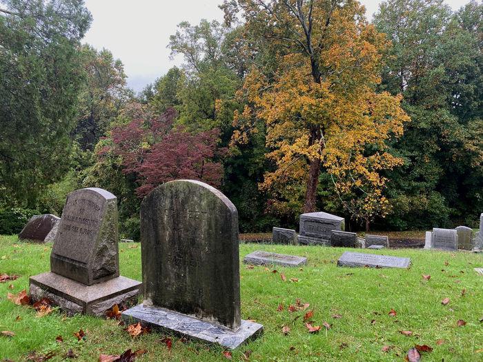Stone cross in cemetery