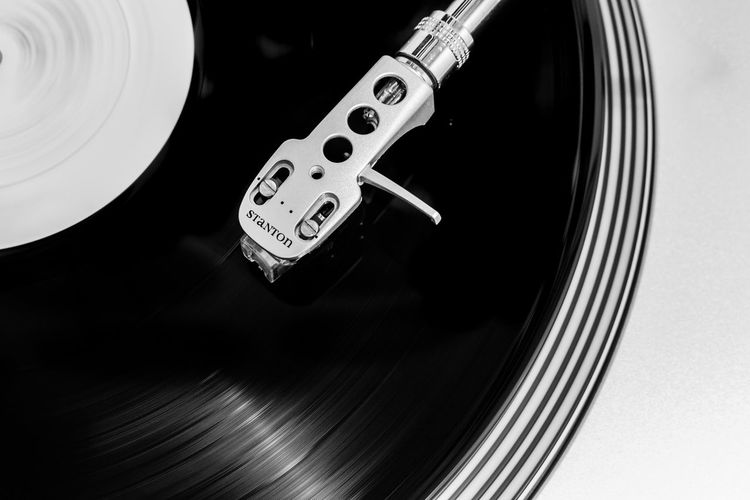Arts Culture And Entertainment Black And White Blackandwhite Close-up Day Dj Indoors  Monochrome Music Musical Instrument No People Record Player Needle Stanton  Technology Turntable Vintage Vinyl Vinyl Records