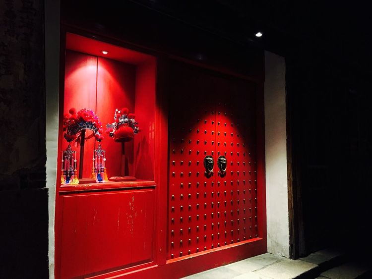 Red Architecture Entrance Door Built Structure No People Illuminated Night