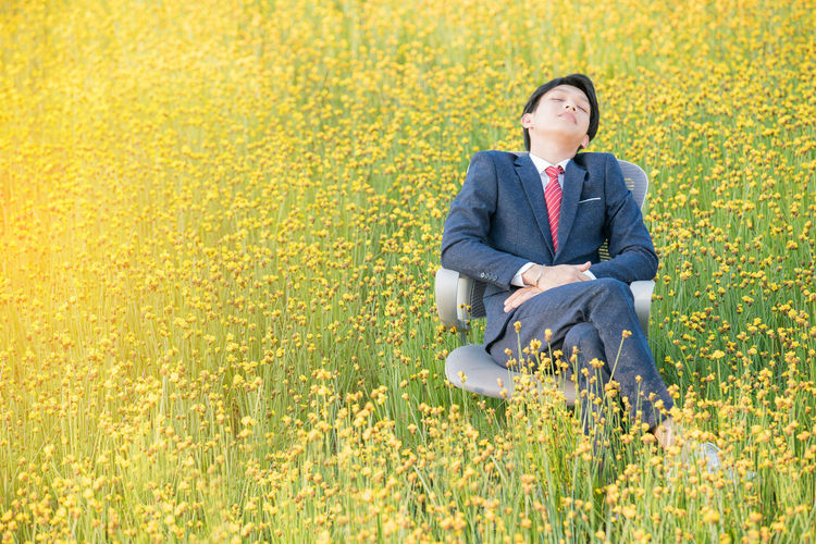 Businessman Sleeping While Sitting In Chair Amidst Yellow Flowers On Field