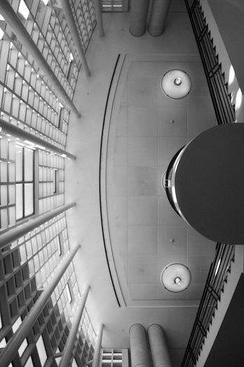 Never stop looking up. Ucdavis Library Blackandwhite University Books Indoors  Davis Black And White First Eyeem Photo Real People