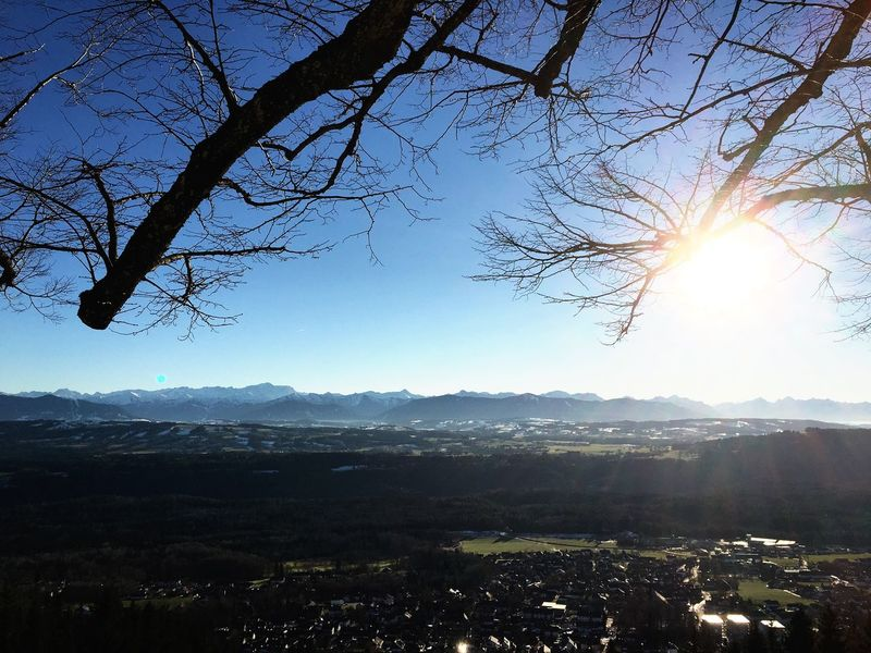 Ausblick, Berge, Sonne Nature Beauty In Nature Tranquility Sunlight Tree Tranquil Scene No People Clear Sky Sky Outdoors Mountain Winter Sun Cold Temperature Scenics Landscape Day Bare Tree Branch