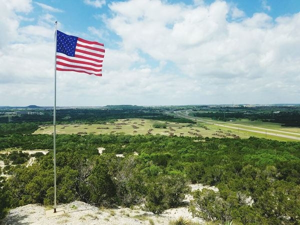 Making America Red White and Blue again. Flag Patriotism Landscape Sky Outdoors Old Glory 🇱🇷 Striped Day Horizon Over Land Horizon View Beauty In Nature Nature The Great Outdoors - 2017 EyeEm Awards