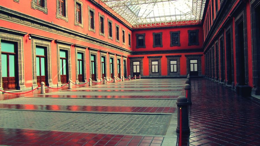Red Building Architecture Indoors  Red Built Structure Perspective No People Façade Interior Design Interior Views Windows Walls Famous Place Mexico City