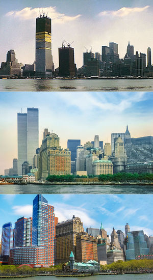 New York historical skyline from 1970 with Twin Towers under construction. New York skyline with World Trade Center in the 1980s, and Lower Manhattan of New York in 2007 without Twin Towers. New York New York City New York ❤ Historical Building Skyline Skyline New York 1970s Twin Towers Twin Tower Construction Site World Trade Center World Trade Center Memorial World Trade Center New York World Trade Center Building 1980s 1980s Style Manhattan New York Manhattan Skyline Manhattan Waterfront Skyscraper Sky And Clouds Blue Sky Collage Building Exterior Architecture Built Structure Building City Office Building Exterior Sky Tall - High Cityscape Modern Urban Skyline Office No People Landscape Nature Tower Cloud - Sky Residential District Day Financial District  Outdoors Spire