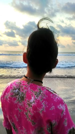EyeEm Ready   My Future New Day New Way New Day A New Hope Hair Up Beautiful Place Beautiful Day Horizon Over Water Waves Rolling In Cloud - Sky Beach Sea Water Outdoors Pink Color White Bright Day EyeEm Best Shots EyeEm Gallery Pink